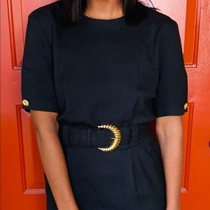 Positive Attitude Black Dress with Gold Belt